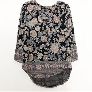 Lucky Brand Floral Printed Black Blouse Small